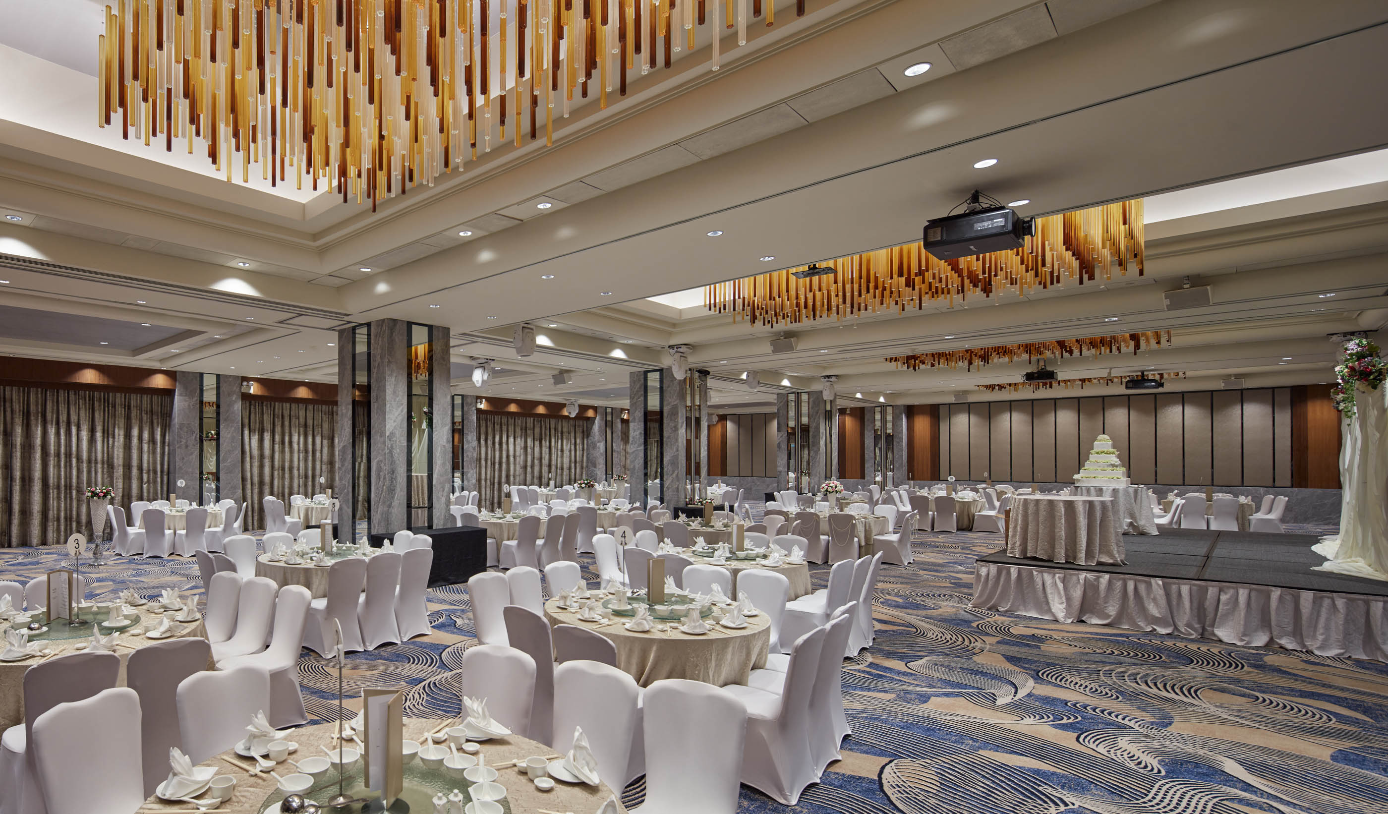 Hilton singapore unveils two refurbished spaces ttgmice sporting dark timber walls the ballrooms four chandeliers were made from hand blown arubaitofo Gallery